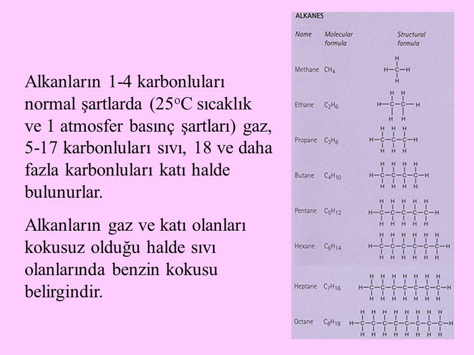 Alkanların 1-4 karbonluları normal şartlarda (25oC sıcaklık ve 1 atmosfer basınç şartları) gaz, 5-17 karbonluları sıvı, 18 ve daha fazla karbonluları katı halde bulunurlar.