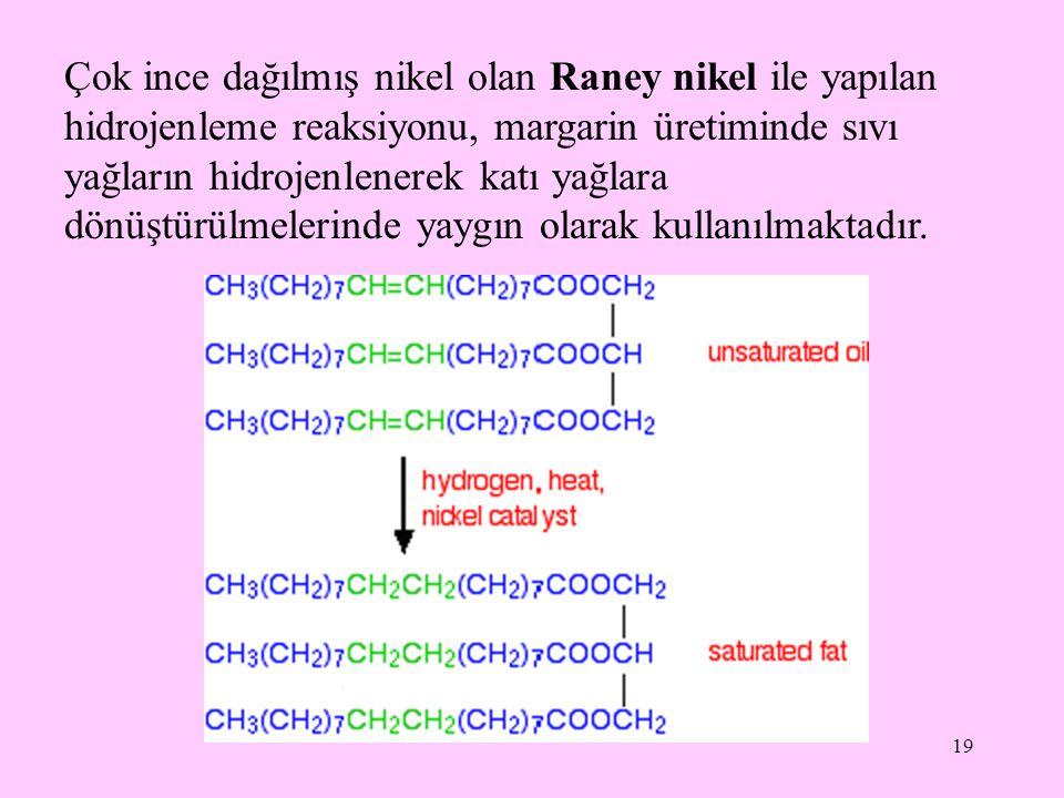Çok ince dağılmış nikel olan Raney nikel ile yapılan hidrojenleme reaksiyonu, margarin üretiminde sıvı yağların hidrojenlenerek katı yağlara dönüştürülmelerinde yaygın olarak kullanılmaktadır.