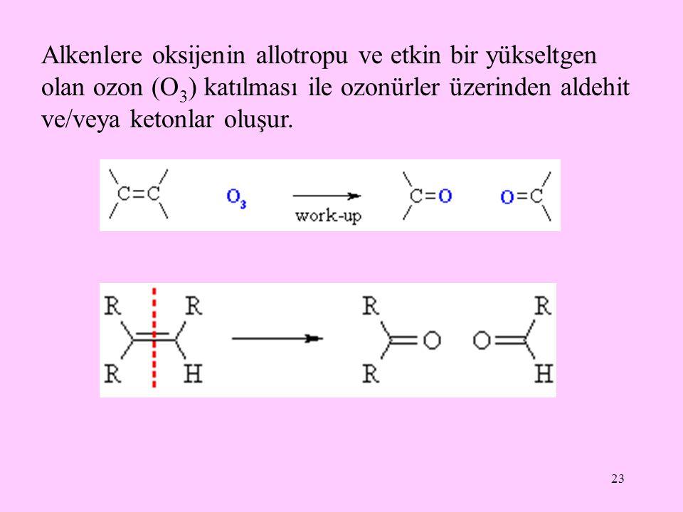 Alkenlere oksijenin allotropu ve etkin bir yükseltgen olan ozon (O3) katılması ile ozonürler üzerinden aldehit ve/veya ketonlar oluşur.