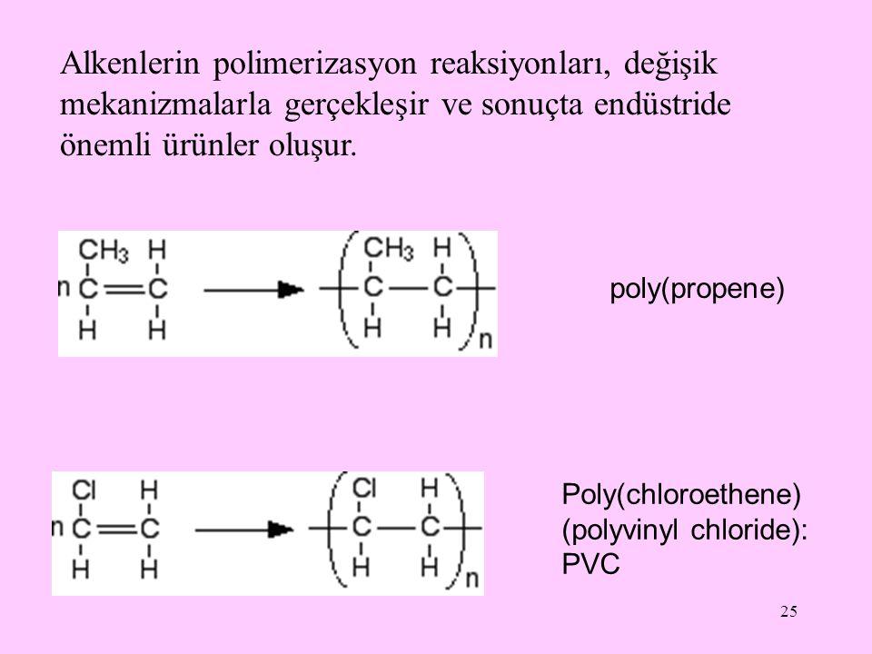 Alkenlerin polimerizasyon reaksiyonları, değişik mekanizmalarla gerçekleşir ve sonuçta endüstride önemli ürünler oluşur.