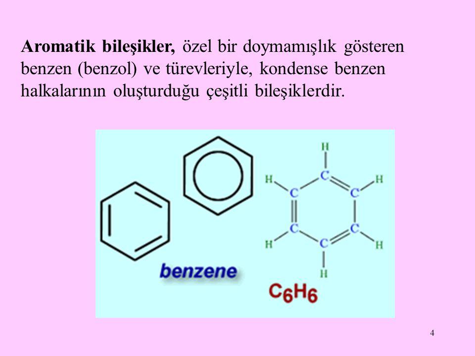 Aromatik bileşikler, özel bir doymamışlık gösteren benzen (benzol) ve türevleriyle, kondense benzen halkalarının oluşturduğu çeşitli bileşiklerdir.
