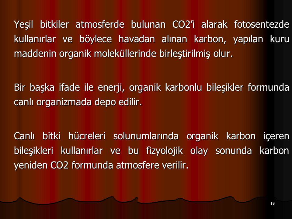 Yeşil bitkiler atmosferde bulunan CO2'i alarak fotosentezde kullanırlar ve böylece havadan alınan karbon, yapılan kuru maddenin organik moleküllerinde birleştirilmiş olur.