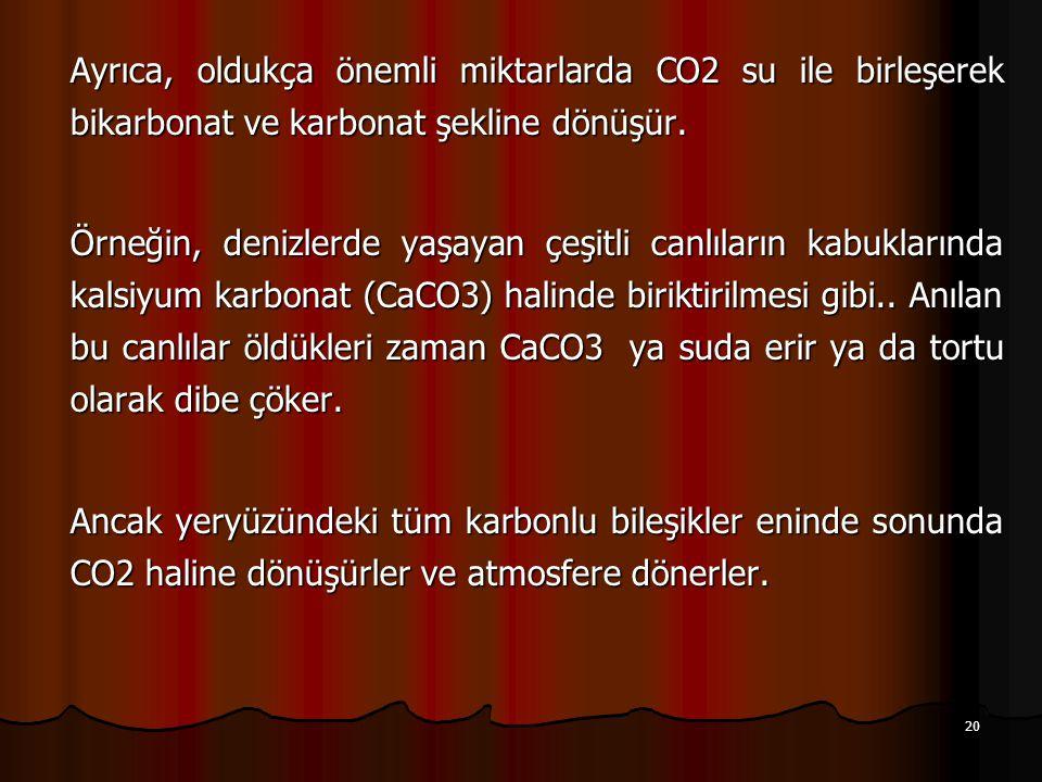 Ayrıca, oldukça önemli miktarlarda CO2 su ile birleşerek bikarbonat ve karbonat şekline dönüşür.