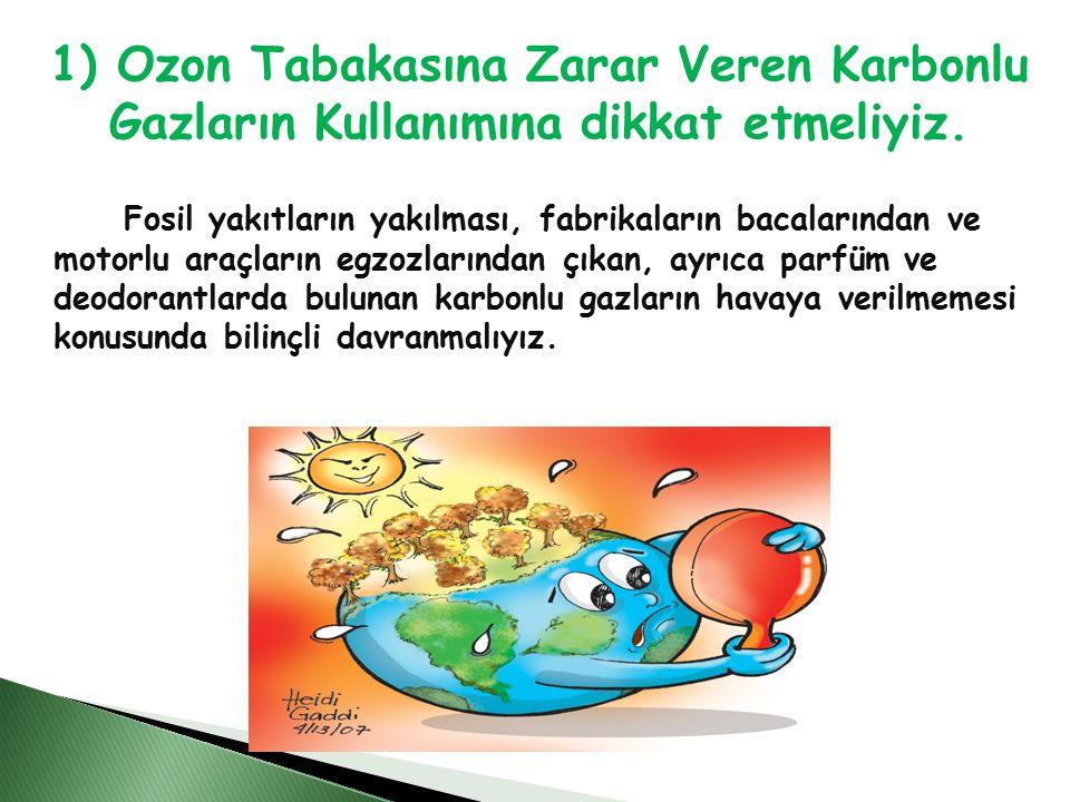 1) Ozon Tabakasına Zarar Veren Karbonlu Gazların Kullanımına dikkat etmeliyiz.