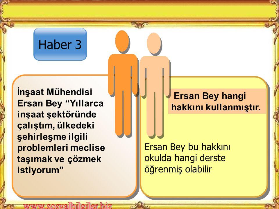 Haber 3 Ersan Bey hangi hakkını kullanmıştır.