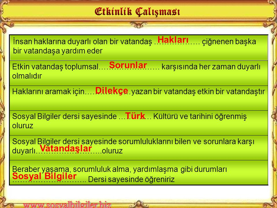 Hakları Sorunlar Dilekçe Türk Vatandaşlar Sosyal Bilgiler