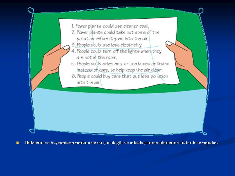 Bitkilerin ve hayvanların yardımı ile iki çocuk göl ve arkadaşlarının fikirlerine ait bir liste yaptılar.