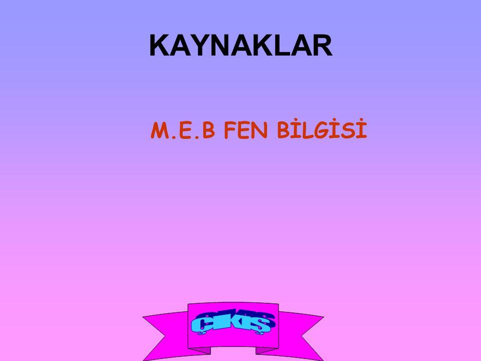 KAYNAKLAR M.E.B FEN BİLGİSİ