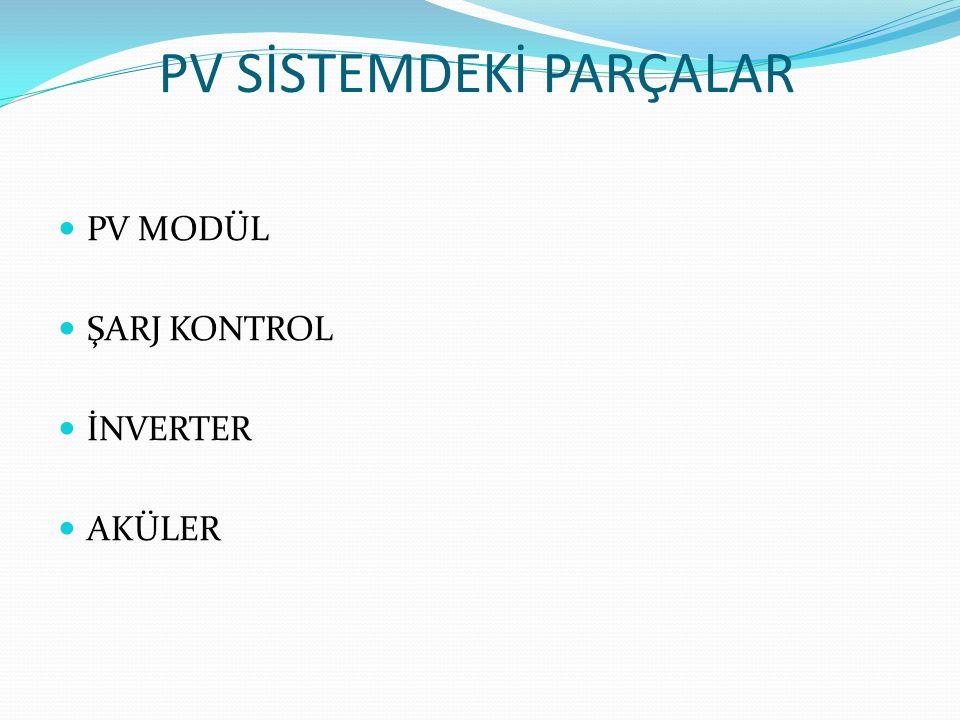 PV SİSTEMDEKİ PARÇALAR
