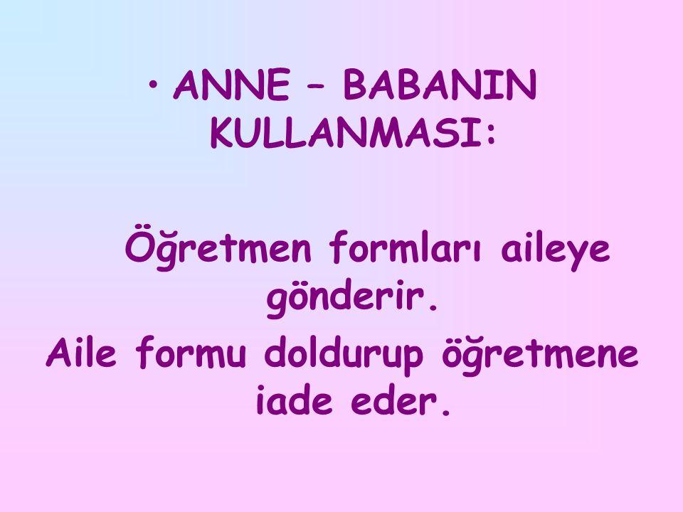 ANNE – BABANIN KULLANMASI: