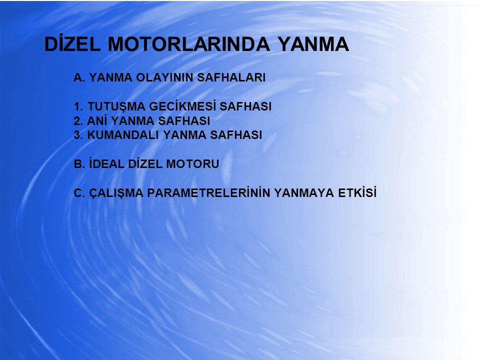 DİZEL MOTORLARINDA YANMA A. YANMA OLAYININ SAFHALARI 1