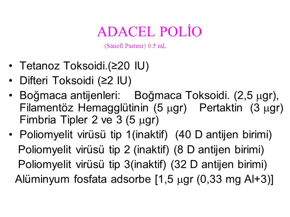 ADACEL POLİO Tetanoz Toksoidi.(≥20 IU) Difteri Toksoidi (≥2 IU)