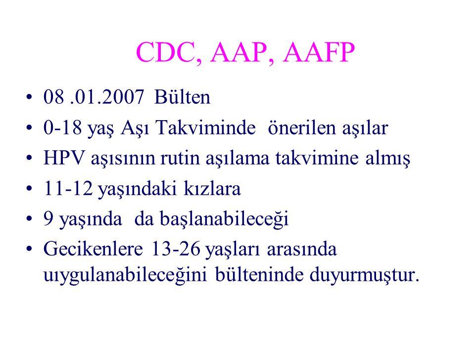 CDC, AAP, AAFP 08 .01.2007 Bülten. 0-18 yaş Aşı Takviminde önerilen aşılar. HPV aşısının rutin aşılama takvimine almış.