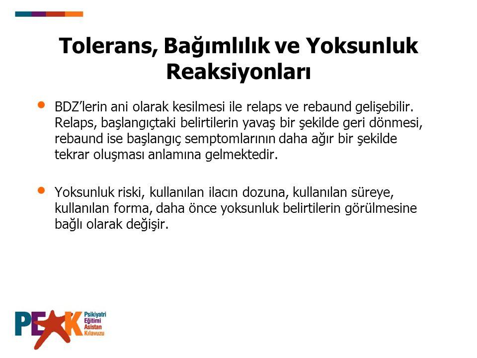 Tolerans, Bağımlılık ve Yoksunluk Reaksiyonları