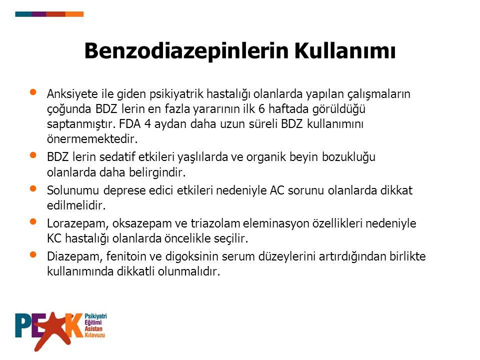 Benzodiazepinlerin Kullanımı