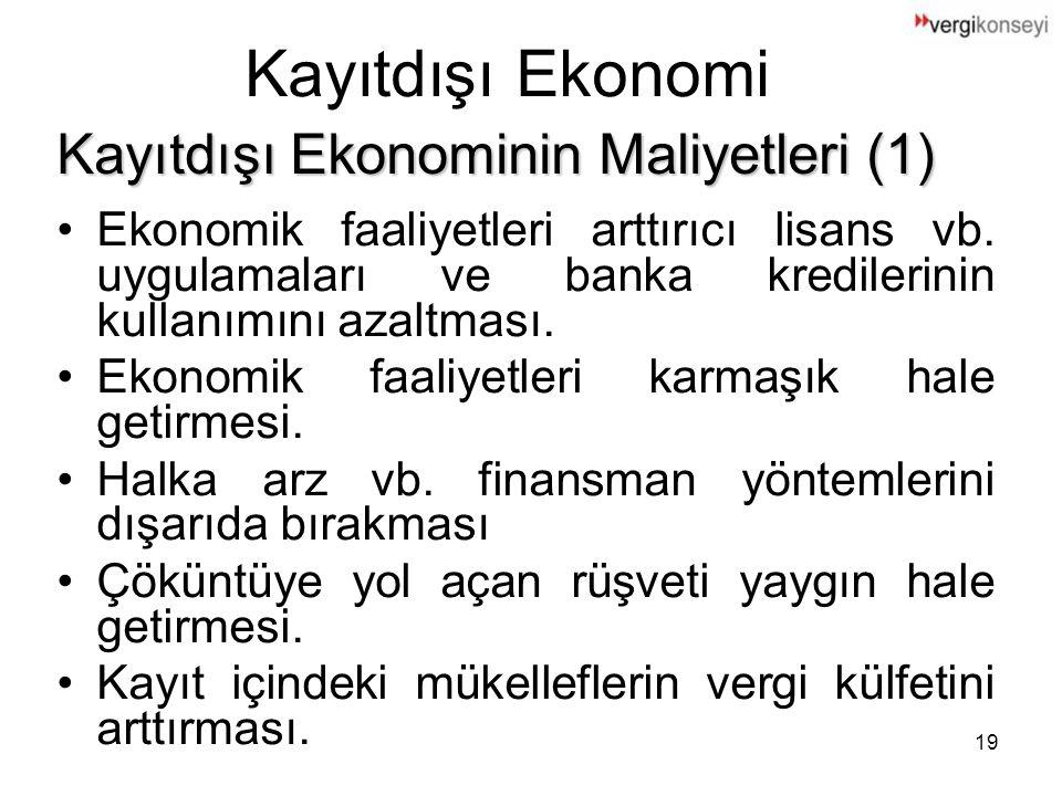Kayıtdışı Ekonomi Kayıtdışı Ekonominin Maliyetleri (1)