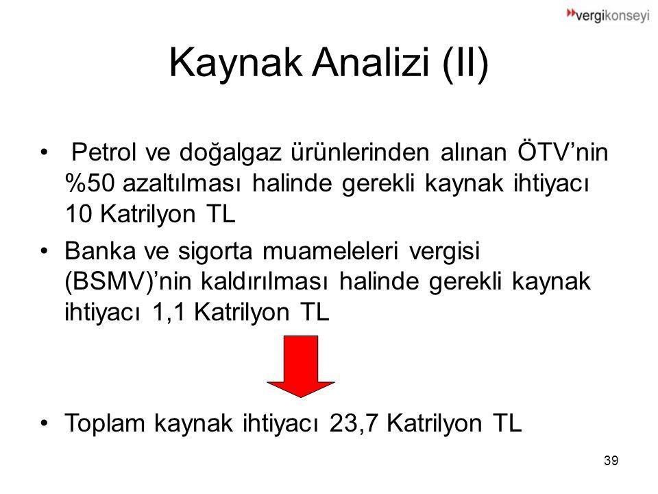 Kaynak Analizi (II) Petrol ve doğalgaz ürünlerinden alınan ÖTV'nin %50 azaltılması halinde gerekli kaynak ihtiyacı 10 Katrilyon TL.