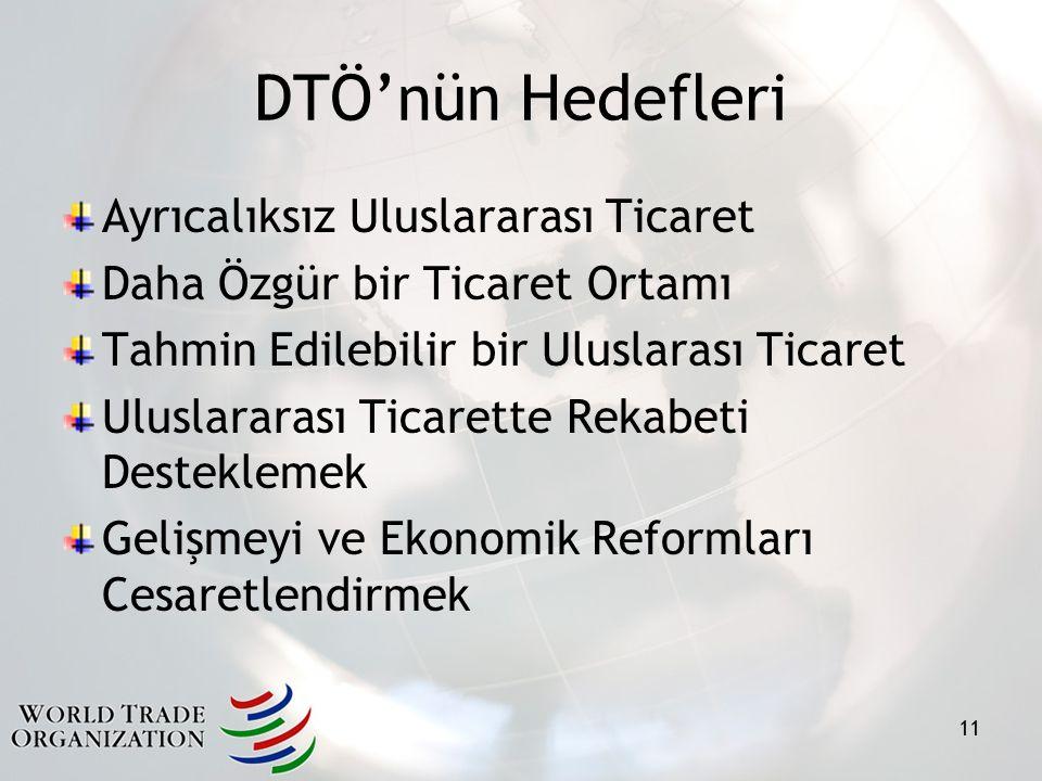 DTÖ'nün Hedefleri Ayrıcalıksız Uluslararası Ticaret