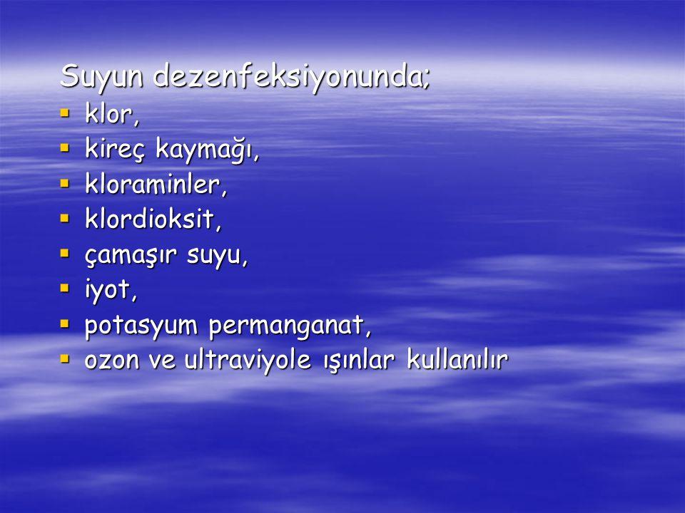 Suyun dezenfeksiyonunda;