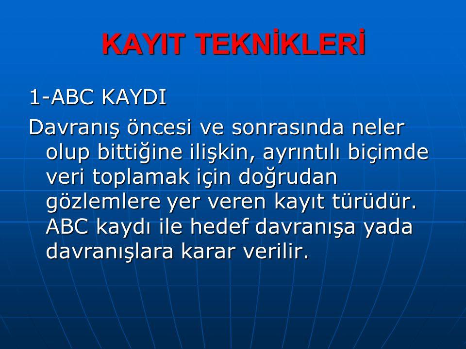 KAYIT TEKNİKLERİ 1-ABC KAYDI