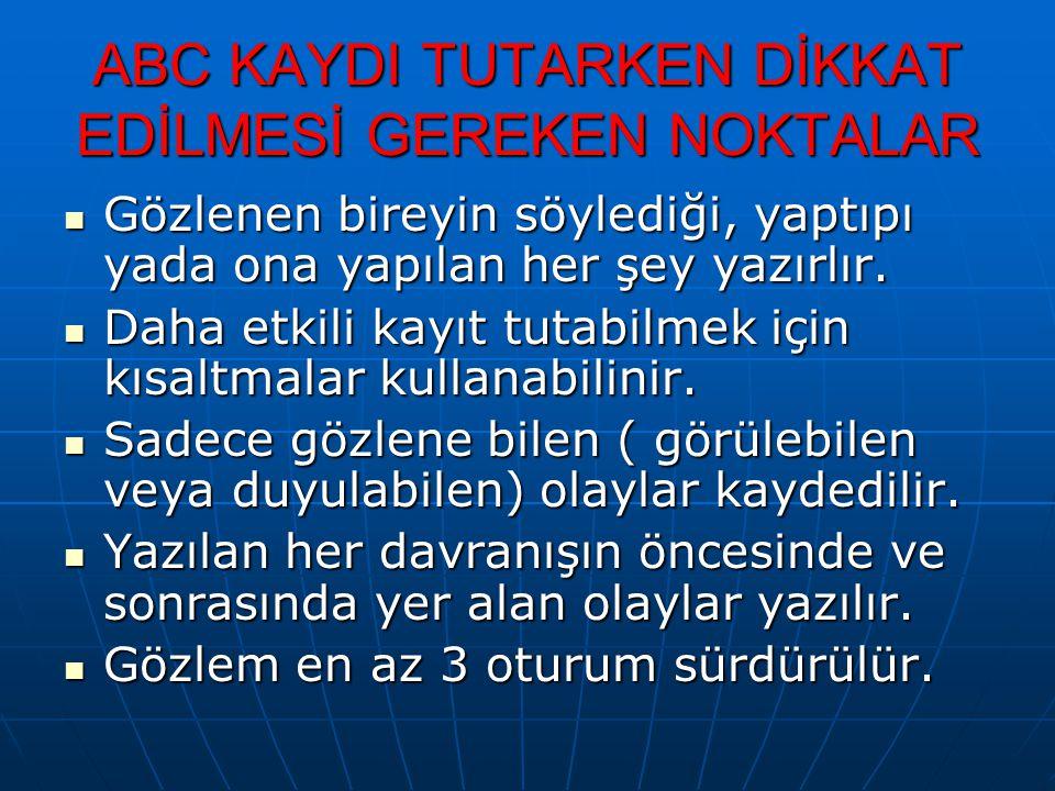 ABC KAYDI TUTARKEN DİKKAT EDİLMESİ GEREKEN NOKTALAR