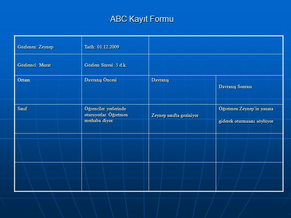 ABC Kayıt Formu Gözlenen: Zeynep Tarih: 01.12.2009 Gözlemci: Murat