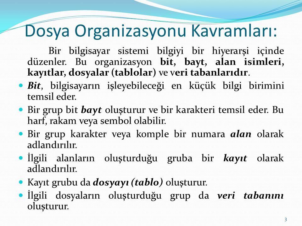 Dosya Organizasyonu Kavramları: