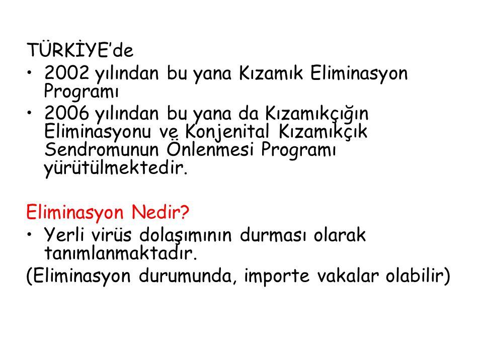 TÜRKİYE'de 2002 yılından bu yana Kızamık Eliminasyon Programı.