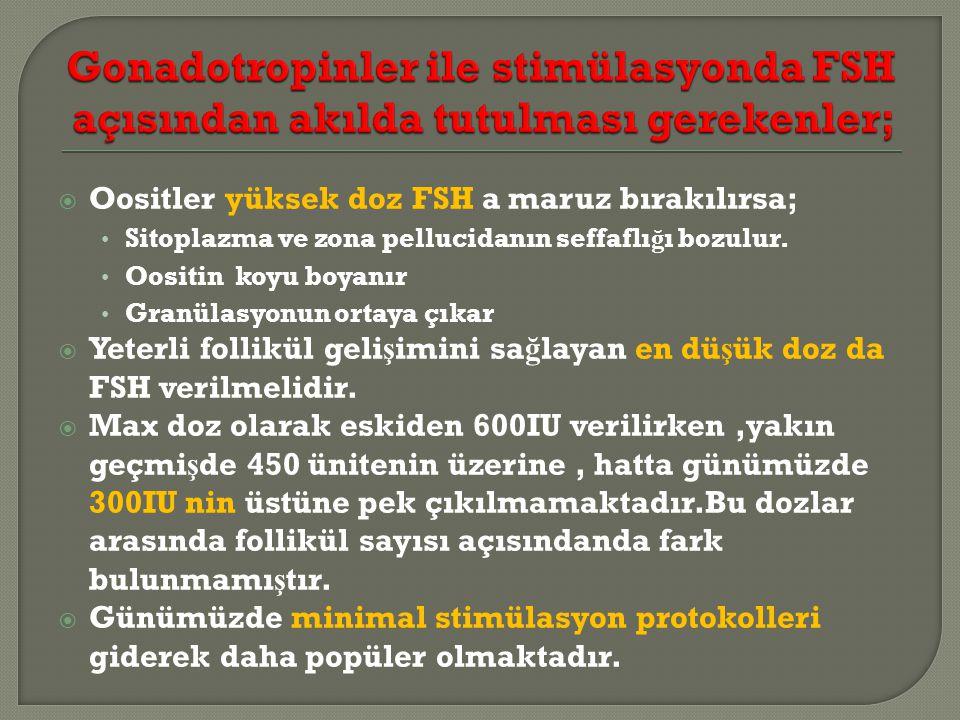 Gonadotropinler ile stimülasyonda FSH açısından akılda tutulması gerekenler;