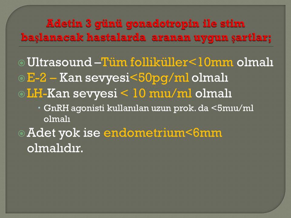 Ultrasound –Tüm folliküller<10mm olmalı