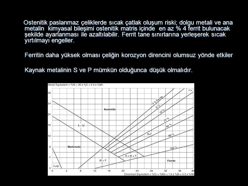 Kaynak metalinin S ve P mümkün olduğunca düşük olmalıdır.