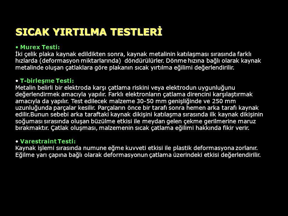 SICAK YIRTILMA TESTLERİ