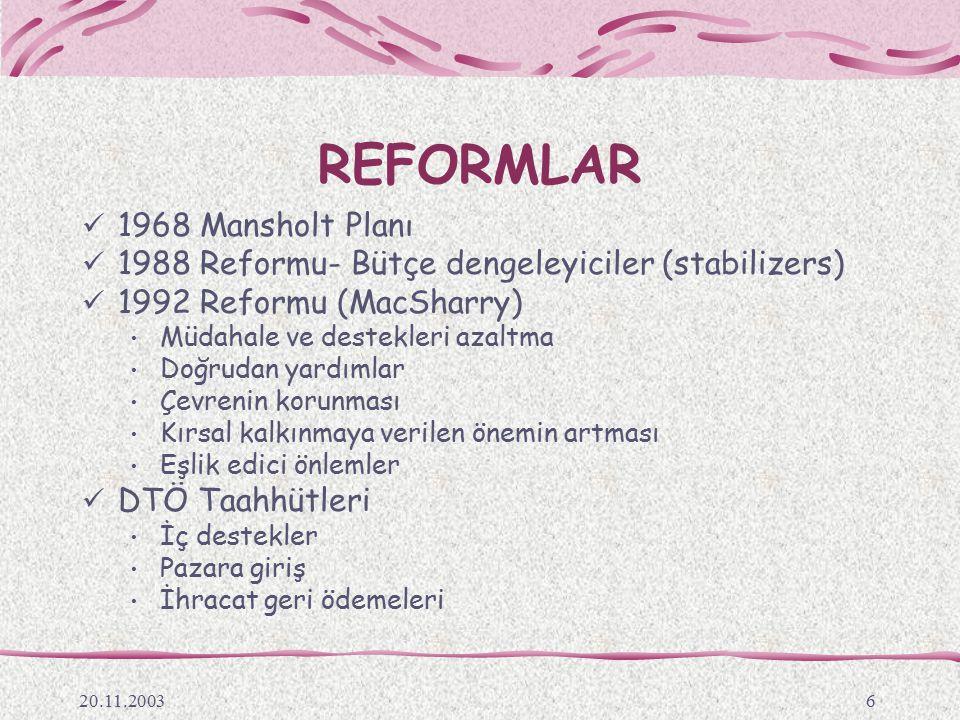 REFORMLAR 1968 Mansholt Planı