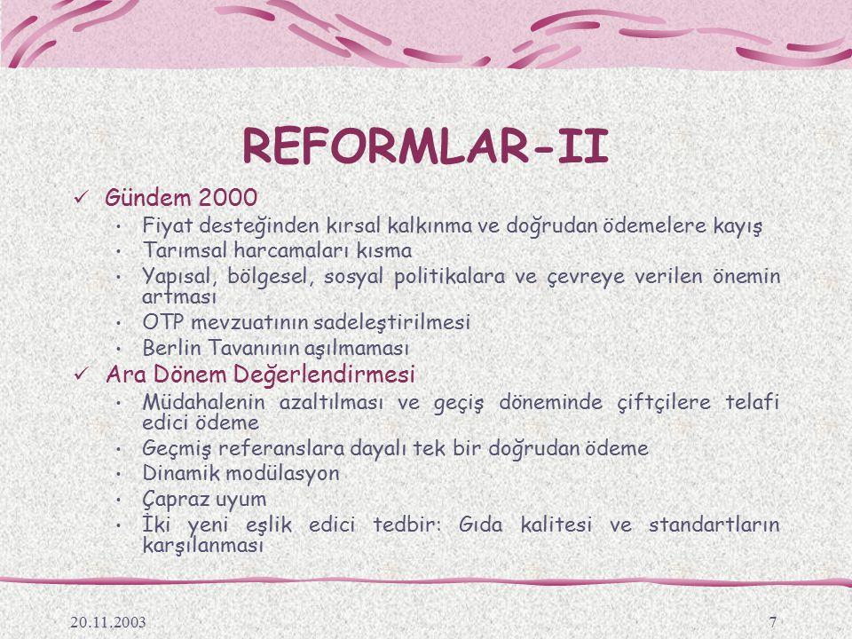 REFORMLAR-II Gündem 2000 Ara Dönem Değerlendirmesi