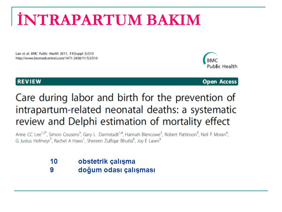 İNTRAPARTUM BAKIM 10 obstetrik çalışma 9 doğum odası çalışması