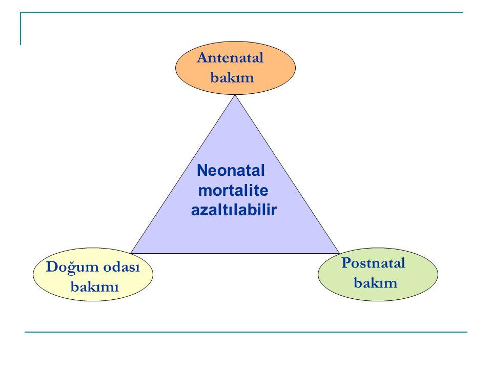 Antenatal bakım Neonatal mortalite azaltılabilir Postnatal bakım Doğum odası bakımı
