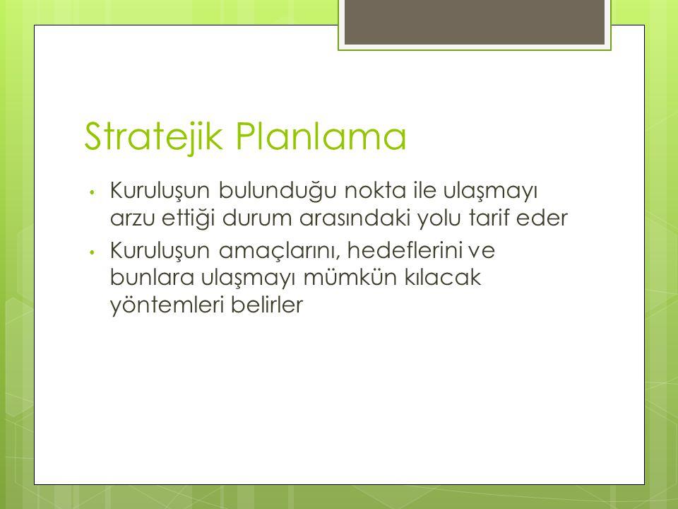 Stratejik Planlama Kuruluşun bulunduğu nokta ile ulaşmayı arzu ettiği durum arasındaki yolu tarif eder.