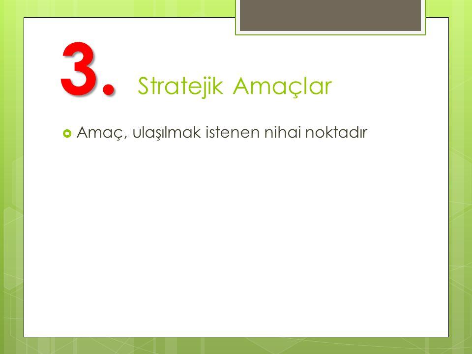 3. Stratejik Amaçlar Amaç, ulaşılmak istenen nihai noktadır