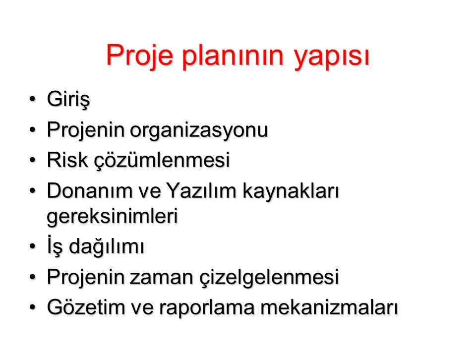 Proje planının yapısı Giriş Projenin organizasyonu Risk çözümlenmesi