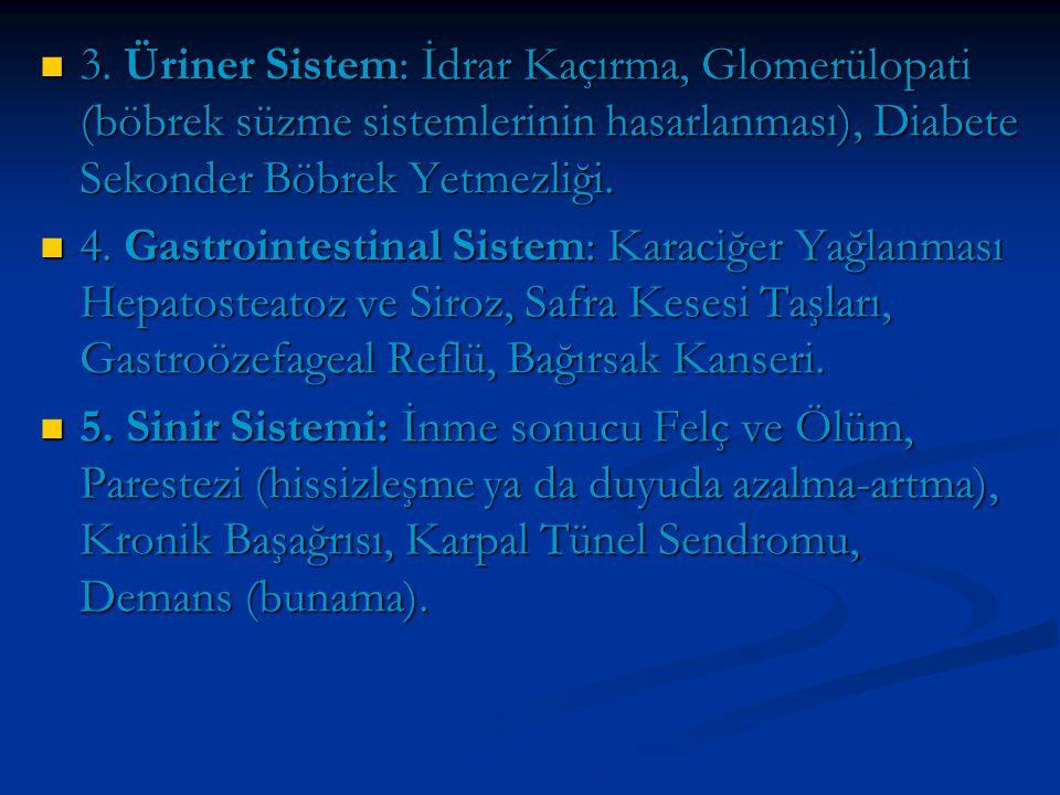 3. Üriner Sistem: İdrar Kaçırma, Glomerülopati (böbrek süzme sistemlerinin hasarlanması), Diabete Sekonder Böbrek Yetmezliği.