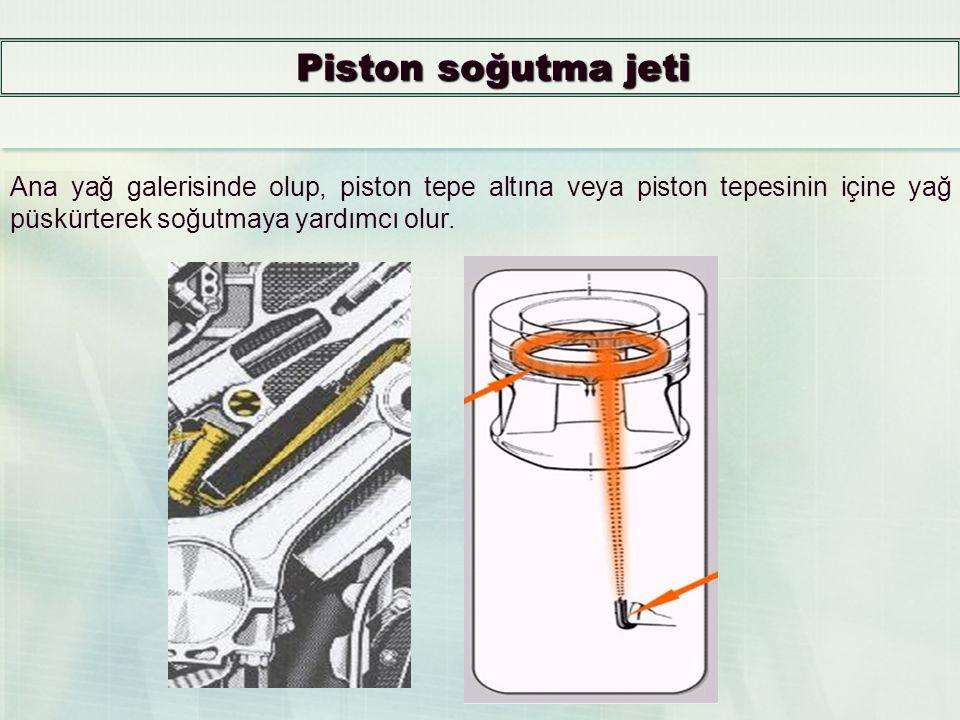 Piston soğutma jeti Ana yağ galerisinde olup, piston tepe altına veya piston tepesinin içine yağ püskürterek soğutmaya yardımcı olur.