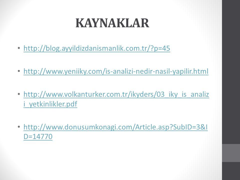 KAYNAKLAR http://blog.ayyildizdanismanlik.com.tr/ p=45