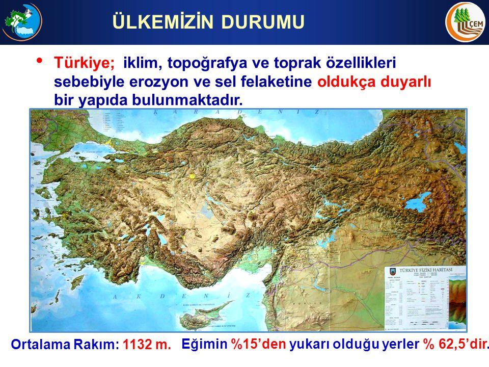 ÜLKEMİZİN DURUMU Türkiye; iklim, topoğrafya ve toprak özellikleri sebebiyle erozyon ve sel felaketine oldukça duyarlı bir yapıda bulunmaktadır.