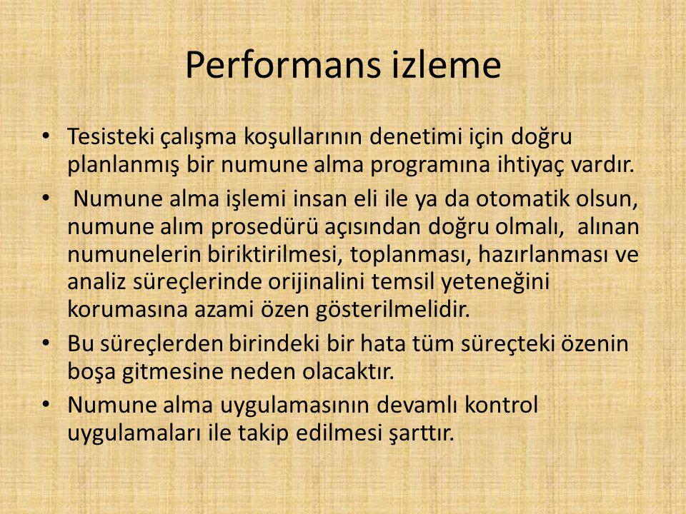 Performans izleme Tesisteki çalışma koşullarının denetimi için doğru planlanmış bir numune alma programına ihtiyaç vardır.
