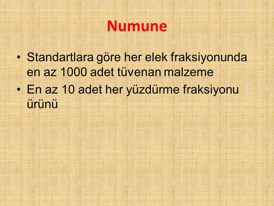 Numune Standartlara göre her elek fraksiyonunda en az 1000 adet tüvenan malzeme.
