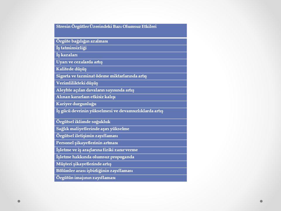 Stresin Örgütler Üzerindeki Bazı Olumsuz Etkileri