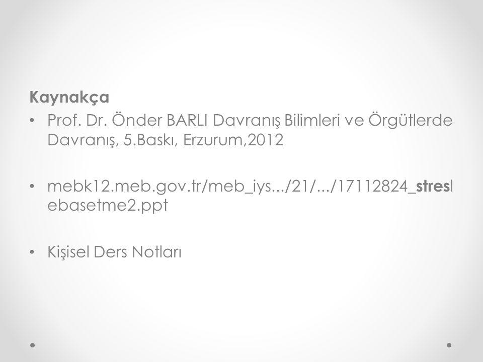 Kaynakça Prof. Dr. Önder BARLI Davranış Bilimleri ve Örgütlerde Davranış, 5.Baskı, Erzurum,2012.