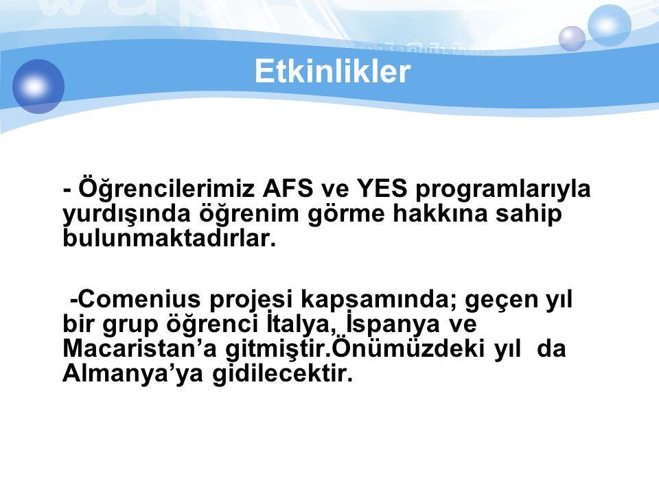 Etkinlikler - Öğrencilerimiz AFS ve YES programlarıyla yurdışında öğrenim görme hakkına sahip bulunmaktadırlar.