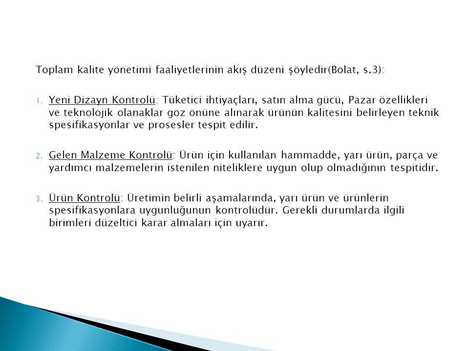Toplam kalite yönetimi faaliyetlerinin akış düzeni şöyledir(Bolat, s