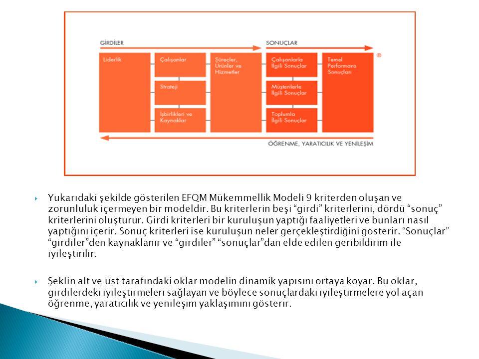 Yukarıdaki şekilde gösterilen EFQM Mükemmellik Modeli 9 kriterden oluşan ve zorunluluk içermeyen bir modeldir. Bu kriterlerin beşi girdi kriterlerini, dördü sonuç kriterlerini oluşturur. Girdi kriterleri bir kuruluşun yaptığı faaliyetleri ve bunları nasıl yaptığını içerir. Sonuç kriterleri ise kuruluşun neler gerçekleştirdiğini gösterir. Sonuçlar girdiler den kaynaklanır ve girdiler sonuçlar dan elde edilen geribildirim ile iyileştirilir.